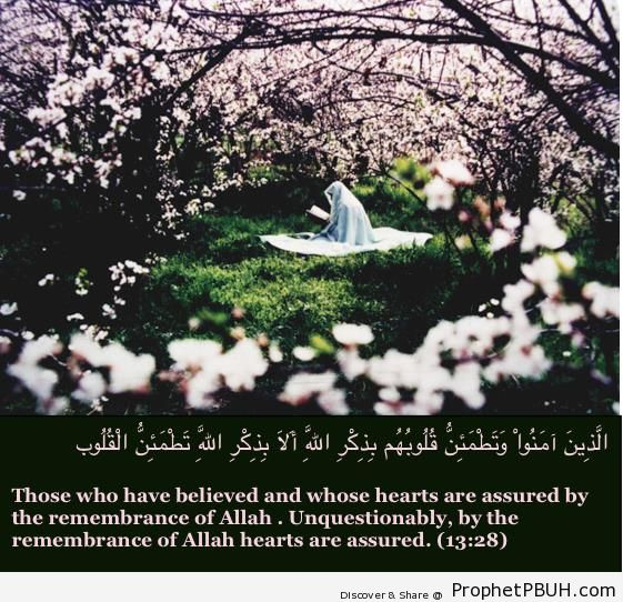 Remembrance of Allah (Surat ar-Ra-d; Quran 13-28) - Islamic Quotes About Dhikr (Remembrance of Allah)