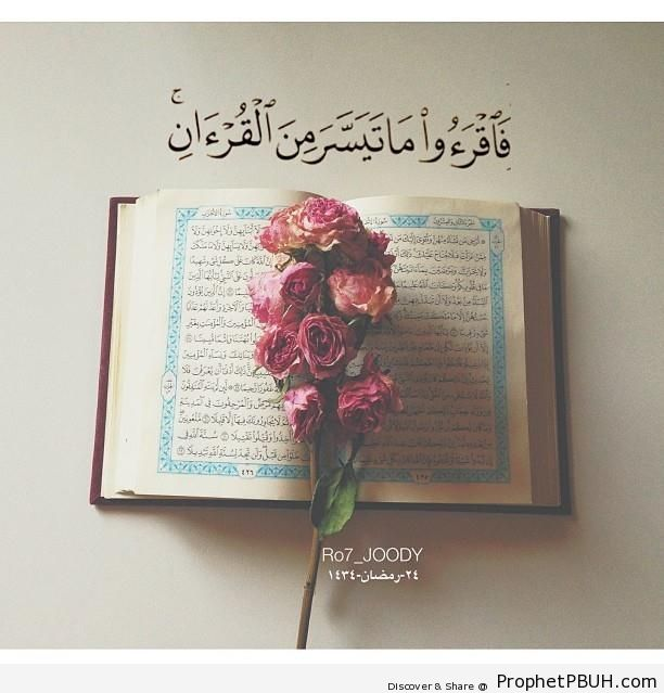 Roses on Book of Quran (with Quran 73-20 - Surat al-Muzzammil) - Islamic Quotes