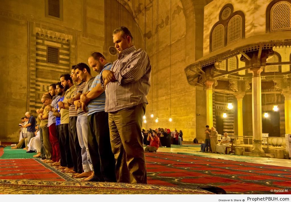 Rows of Men and Women Praying at Sultan Hassan Mosque in Cairo - Cairo, Egypt -Picture