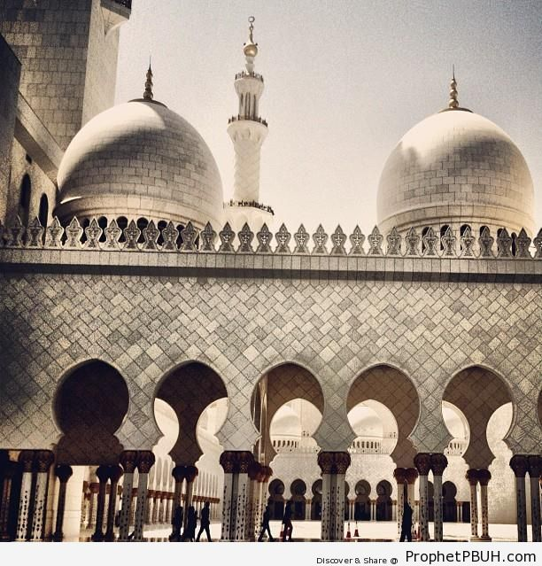Secondary Domes and Archway at the Grand Mosque - Abu Dhabi, United Arab Emirates