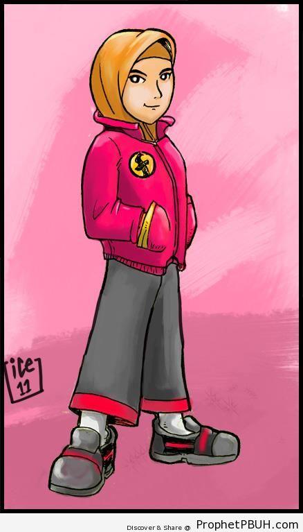 Silat Hijabi Girl (Malay Martial Artist) - Drawings