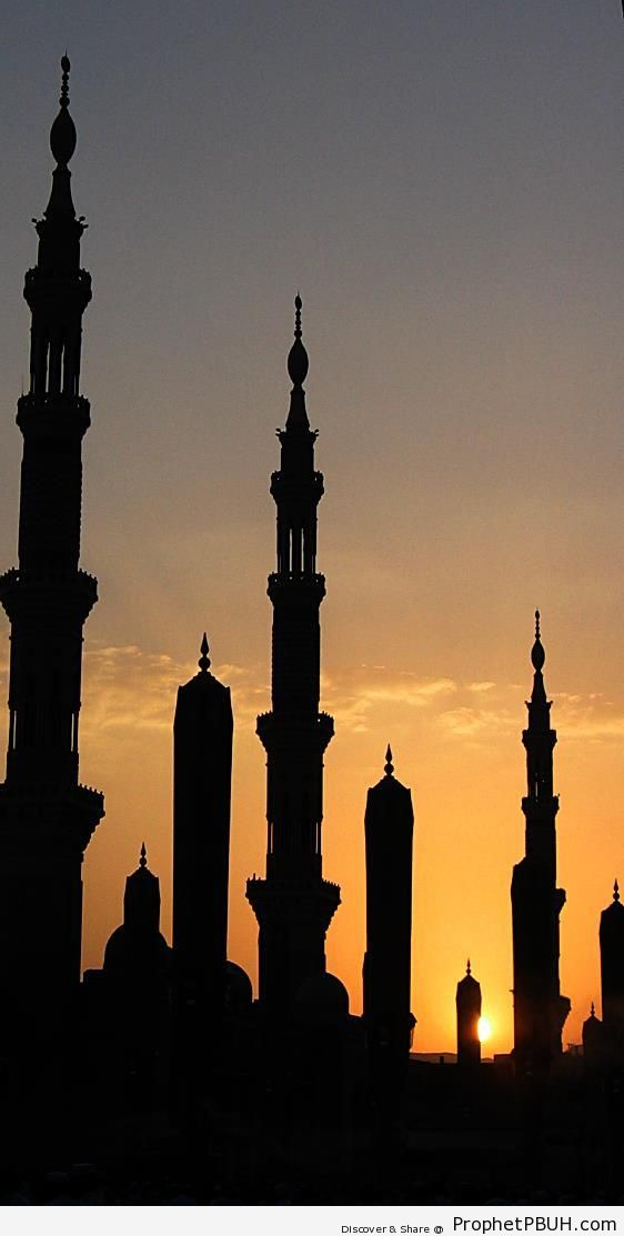 Silhouette of the Prophet-s Mosque at Sunset (al-Madinah, Saudi Arabia) - Al-Masjid an-Nabawi (The Prophets Mosque) in Madinah, Saudi Arabia