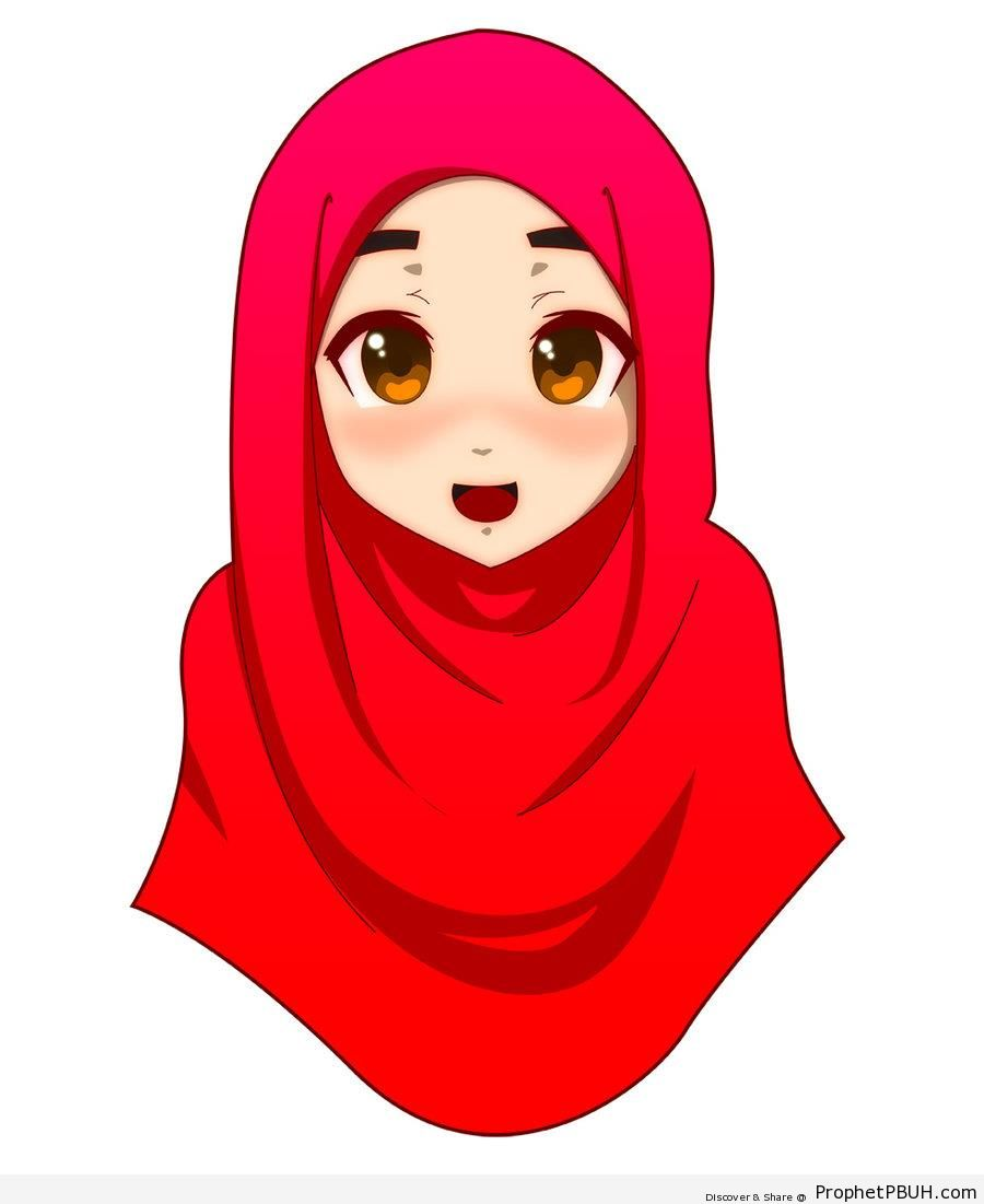 Slightly Blushing Anime Hijabi Girl - Drawings