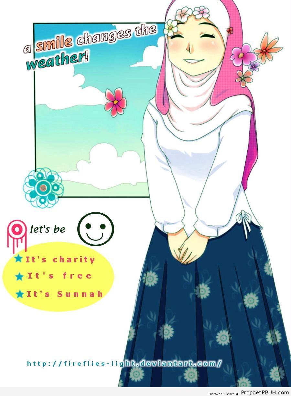Smile, It-s Sunnah! (Smiling Anime Muslimah Drawing) - Drawings