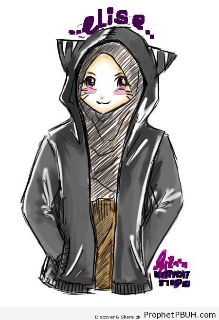 Smiling Cat Girl - Drawings