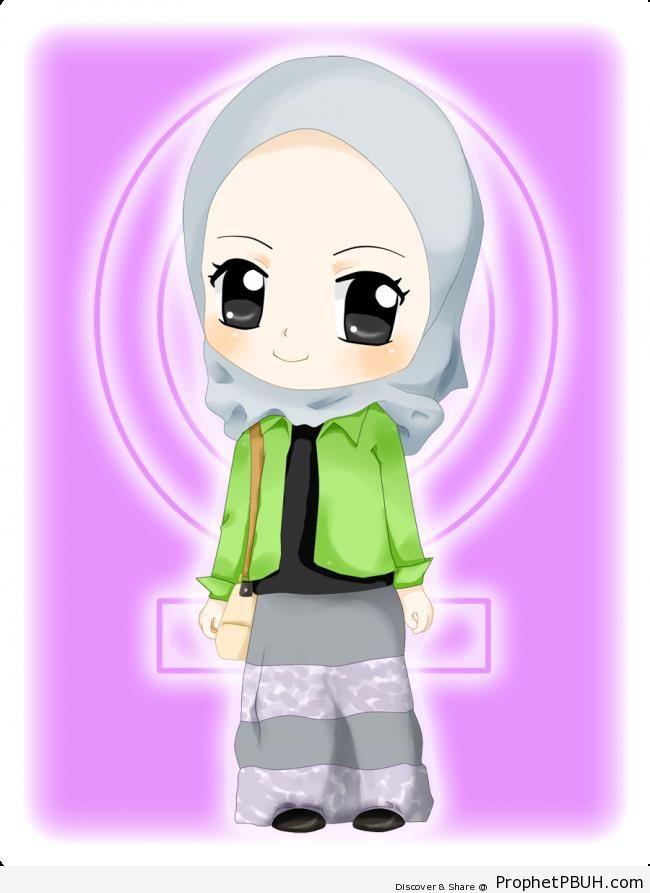 Smiling Chibi Girl - Chibi Drawings (Cute Muslim Characters)