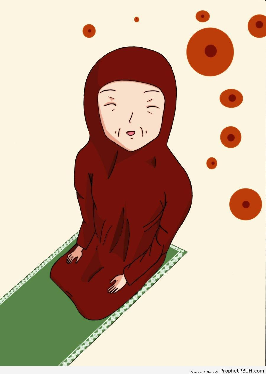 Smiling Grandma on the Prayer Mat - Drawings