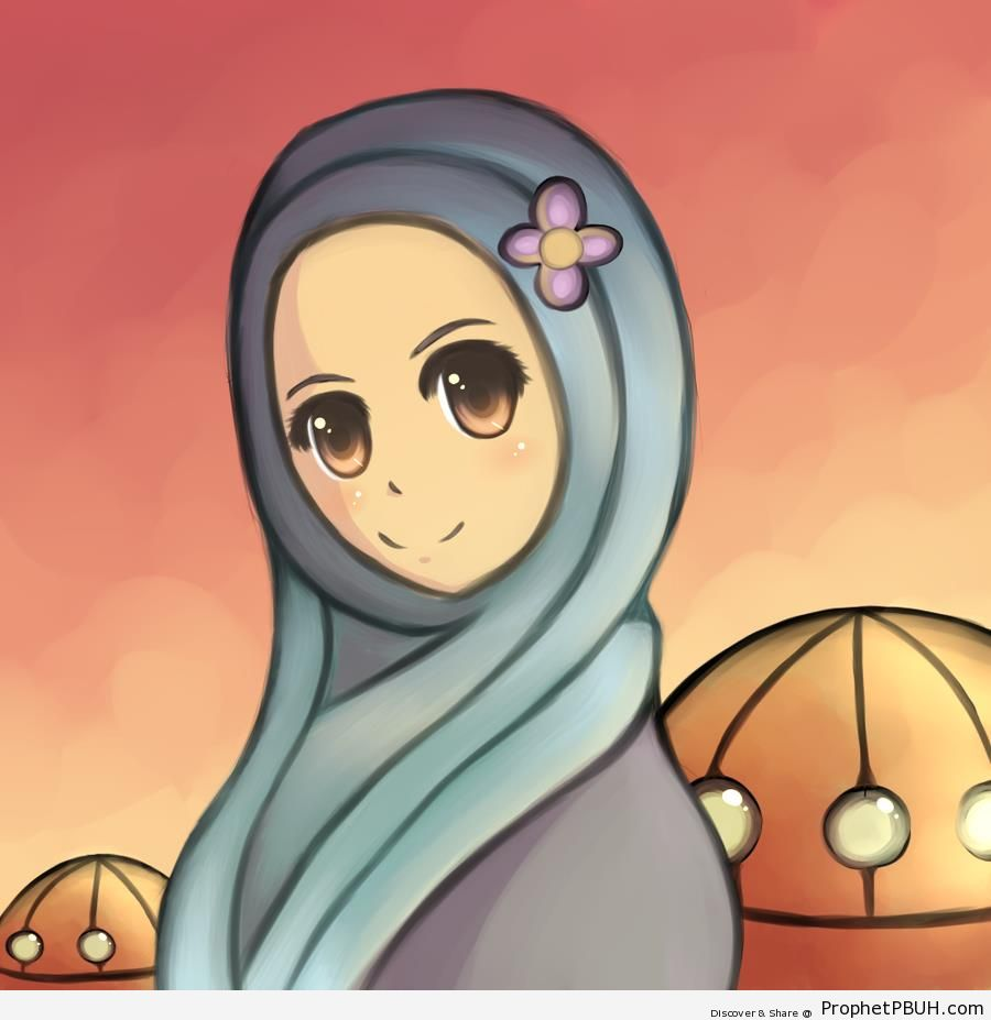 Smiling Muslimah (Anime Drawing) - Drawings