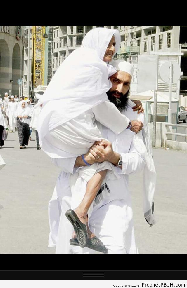Son Carrying Mother to Friday Prayers (Madinah, Saudi Arabia) - Islamic Architecture