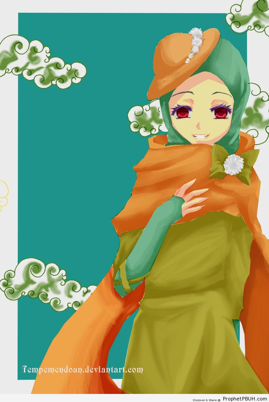 Stylish Muslimah in Hat and Hijab - Drawings