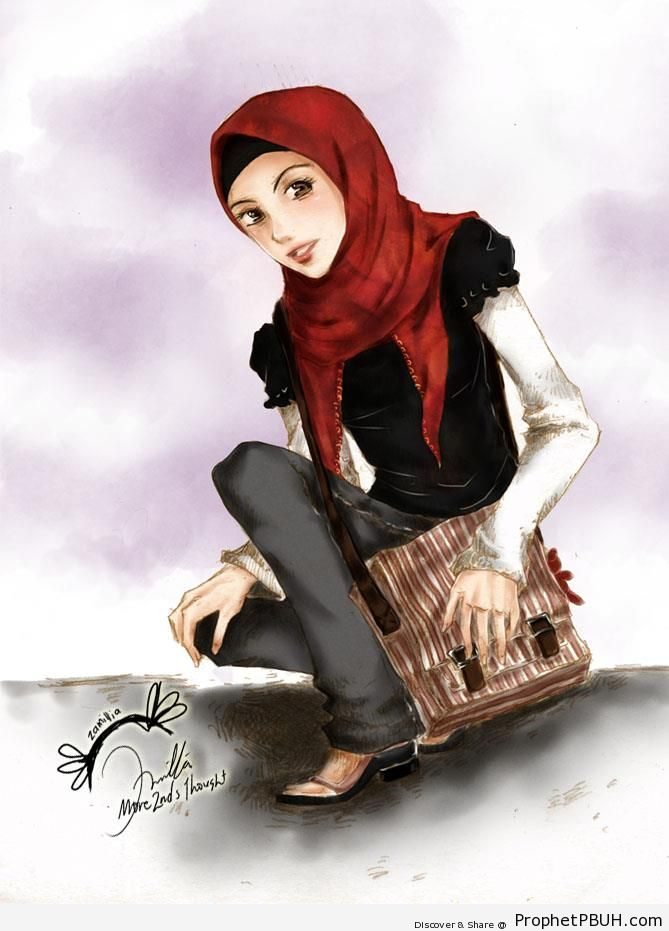 Stylish Muslimah in Red Hijab and Black Blouse - Drawings