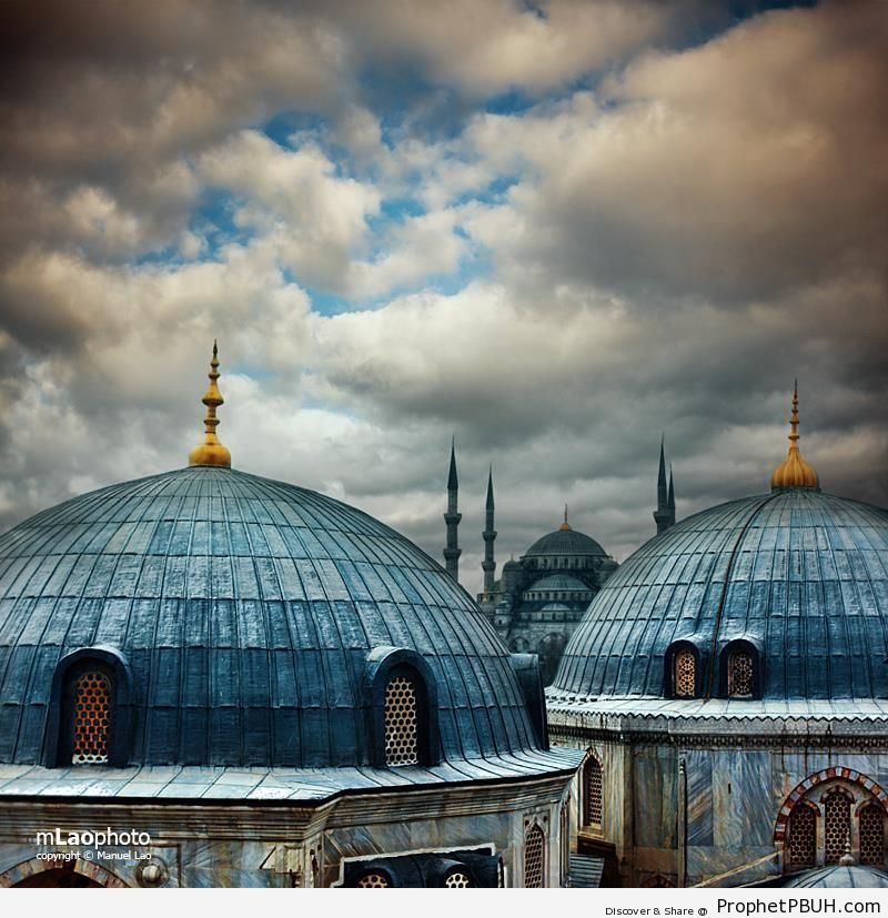 Sultan Ahmed Mosque from Ayasofia - Hagia Sophia (Ayasofya) Museum in Istanbul, Turkey -Picture