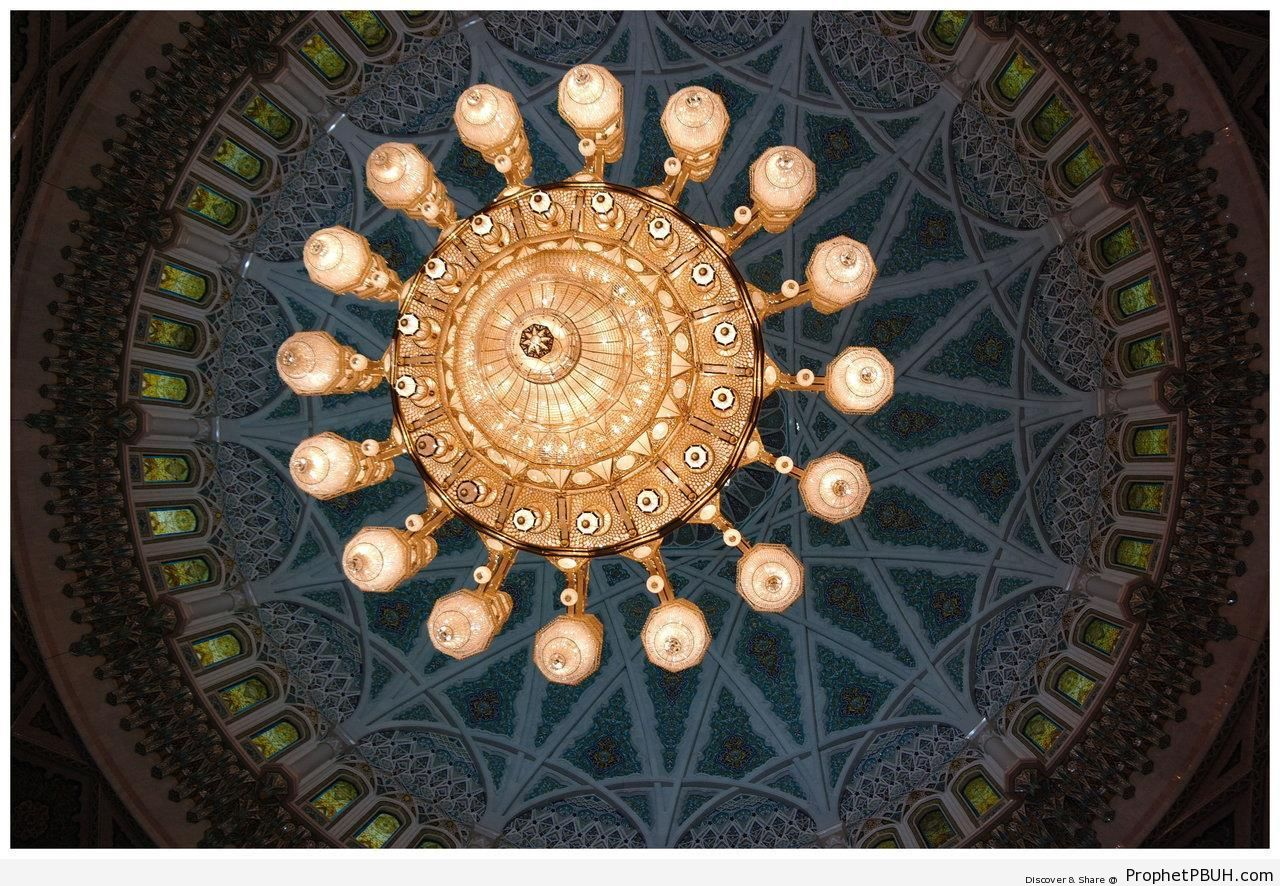 Sultan Qaboos Grand Mosque Chandelier and Dome Interior (Muscat, Oman) - Islamic Architecture -Picture