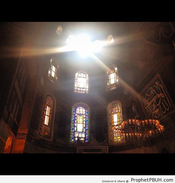 Sunlight Through The Windows of the Sultan Ahmed Mosque in Istanbul, Turkey - Islamic Architecture