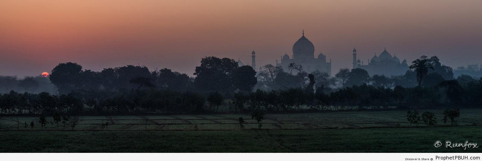 Taj Mahal Sunrise Silhouette - Agra, India