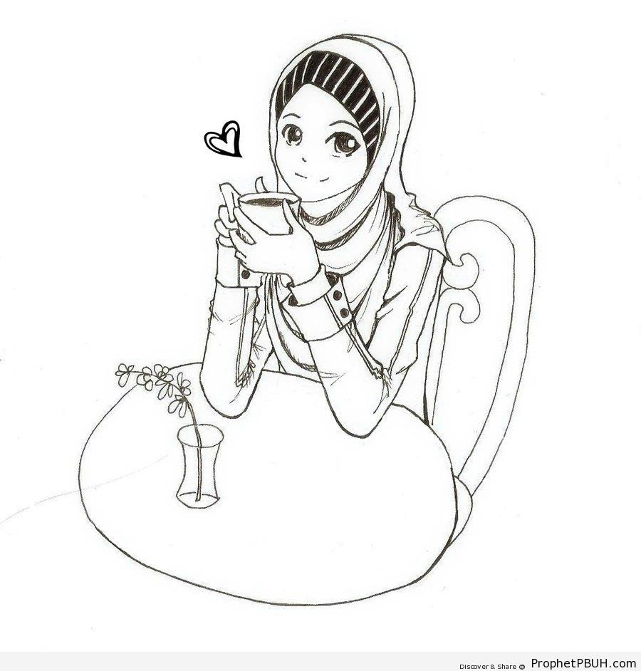 Tea-Drinking Anime Muslim Girl - Drawings