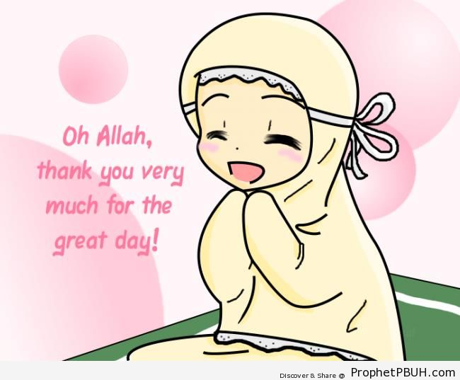 Thankful Little Girl in Hijab - Drawings