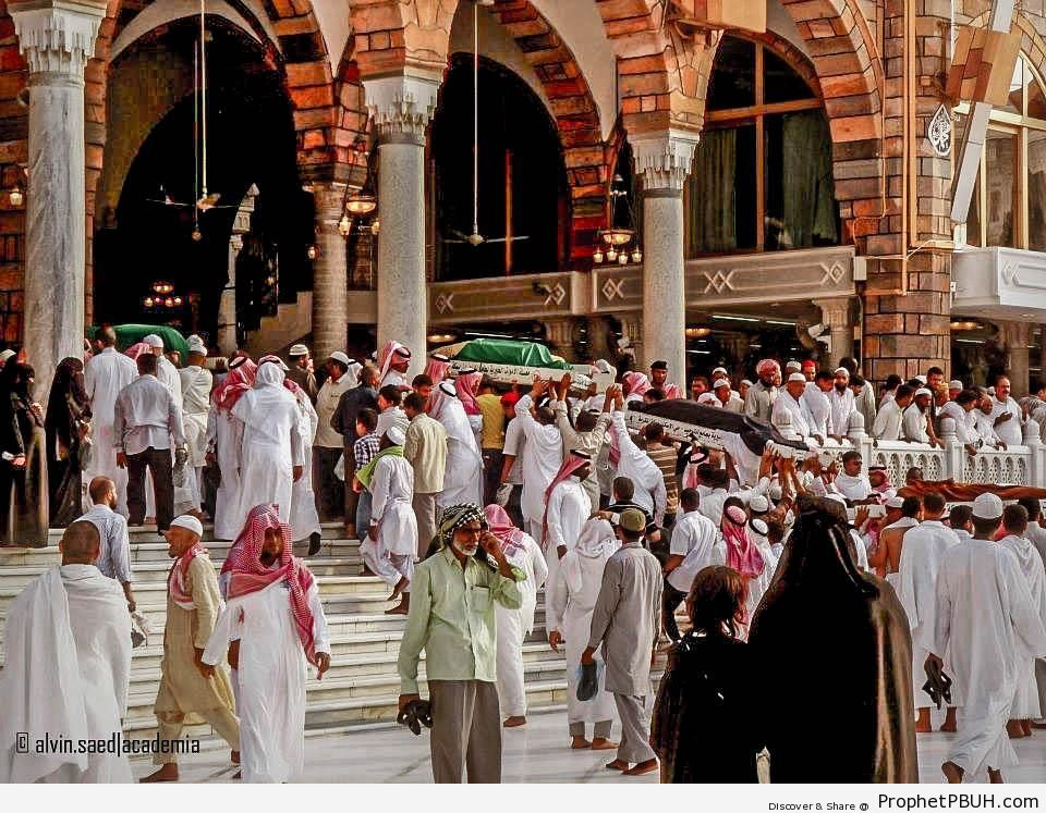 The Deceased Being Carried Out After Janazah Prayers by the Kaba (Makkah, Saudi Arabia) - al-Masjid al-Haram in Makkah, Saudi Arabia -Picture