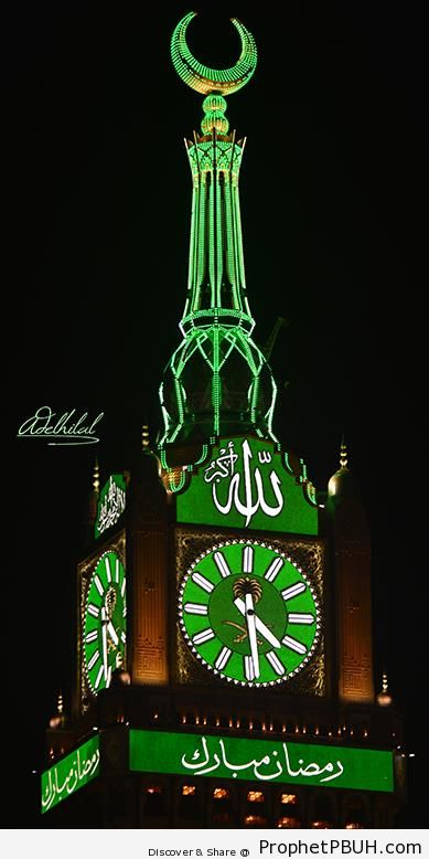 The Mecca Clock Tower Decorated for Ramadan - Photos