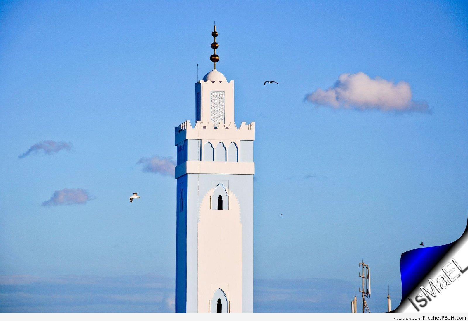 The Minaret and Ship-Guiding Lighthouse of the Great Mosque of Fnideq, Morocco - Fnideq, Morocco -Picture