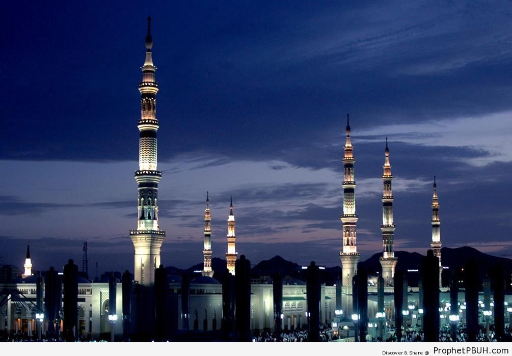 The Prophet-s Mosque at Dusk - Al-Masjid an-Nabawi (The Prophets Mosque) in Madinah, Saudi Arabia -Picture