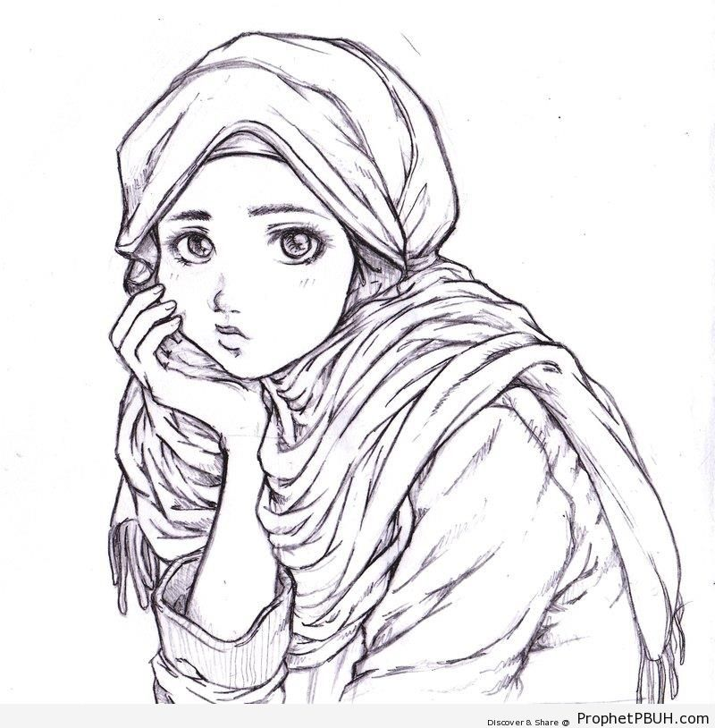 Thinking Muslim Girl (Drawing) - Drawings