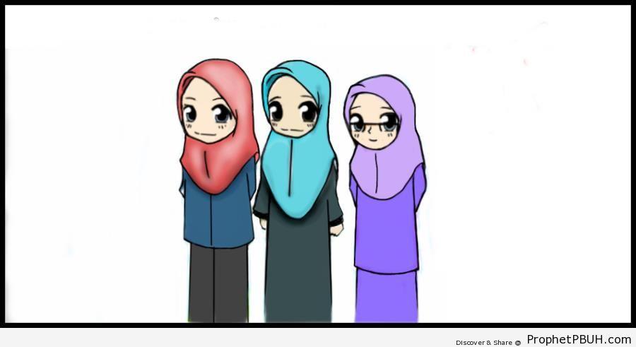 Three Ladies in Hijab - Drawings