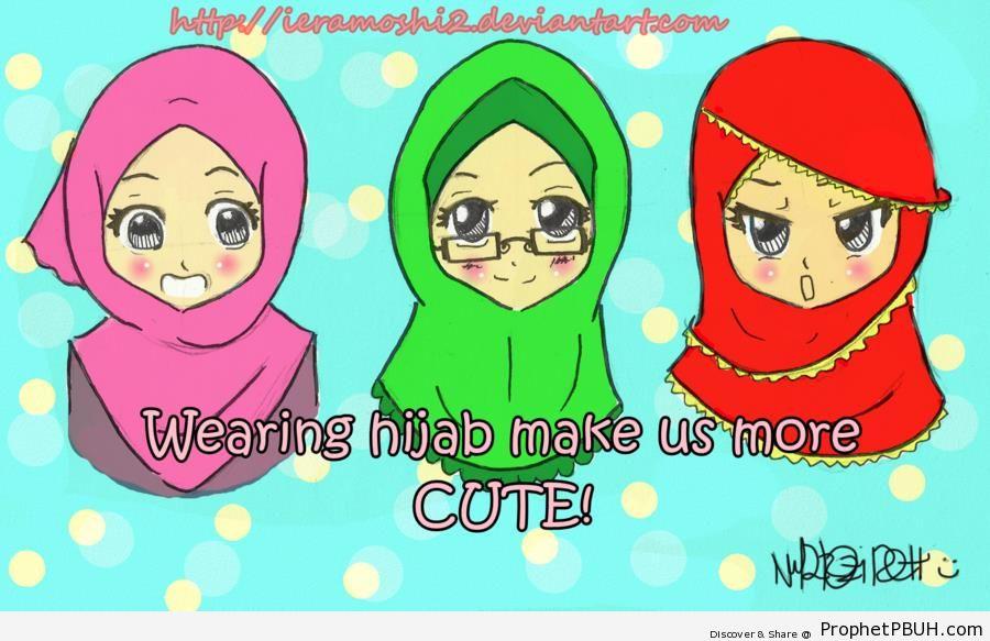 Three Muslim Girls - Drawings