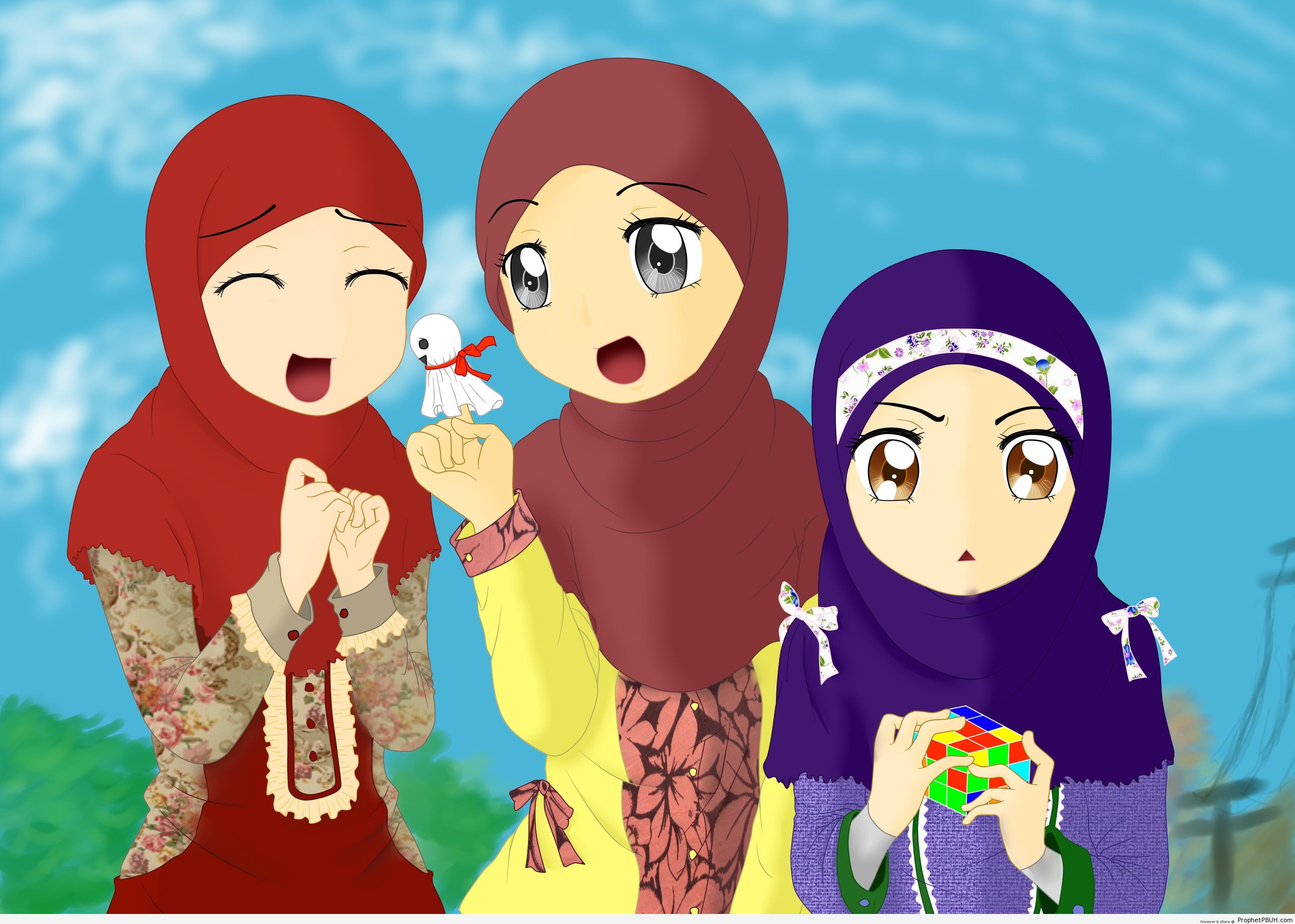 Three Muslim Girls Manga Anime Style Drawing