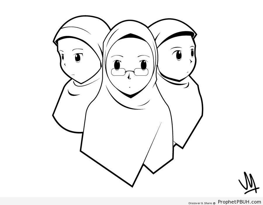 Three Muslim Women (Line Drawing) - Drawings