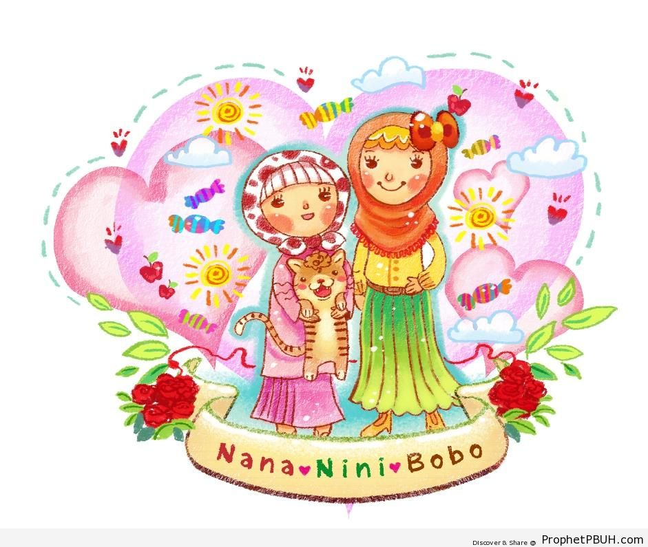 Two Muslim Girls (Drawing for Children) - Drawings
