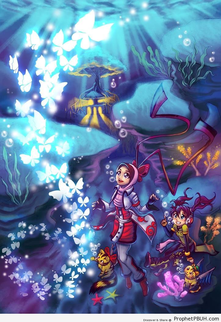 Underwater Anime Muslim Girl - Drawings of Female Muslims (Muslimahs & Hijab Drawings)