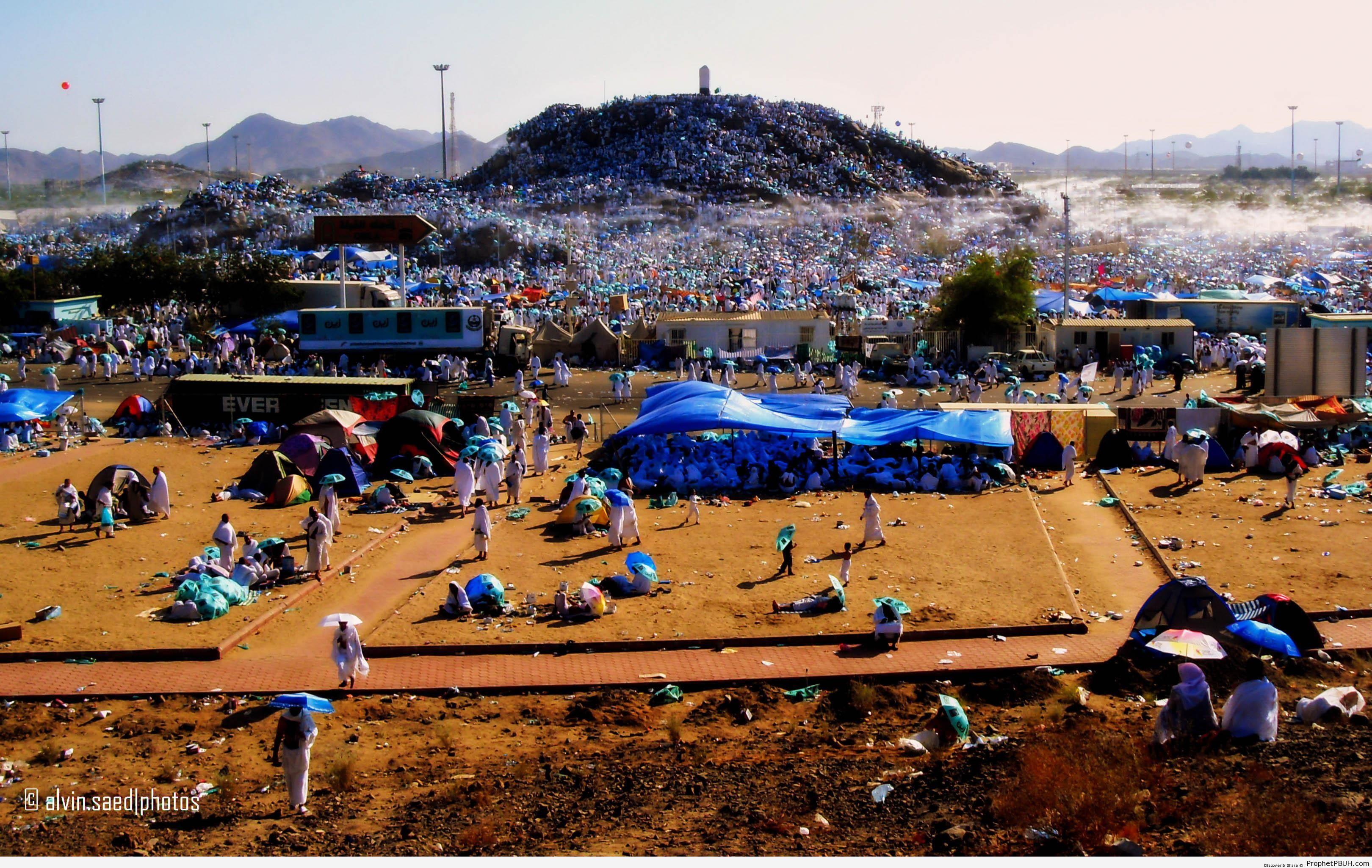 View of Pilgrims on Mount Arafat at Haj Time - Artist- Alvin A. Saed -
