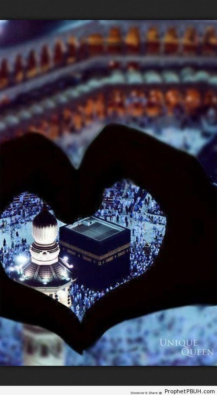View of the Kaba through Heart Gesture - al-Masjid al-Haram in Makkah, Saudi Arabia