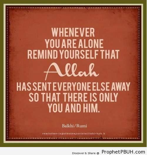 Whenever You Are Alone - Islamic Quotes