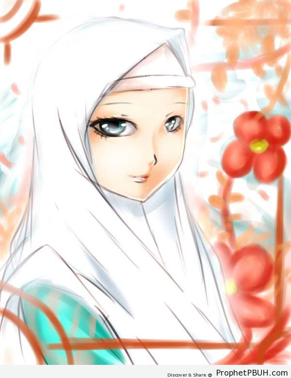 White Hijab & Red Flowers - Drawings