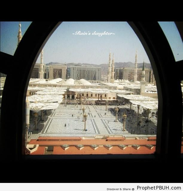 Window View of The Prophet-s Mosque - Al-Masjid an-Nabawi (The Prophets Mosque) in Madinah, Saudi Arabia