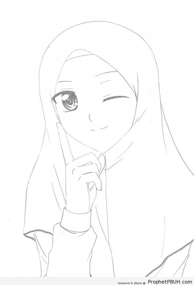 Winking Anime Muslim Girl Line Art - Drawings