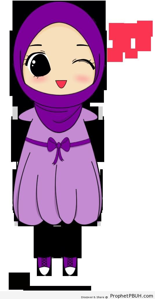 Winking Chibi Hijabi - Chibi Drawings (Cute Muslim Characters)