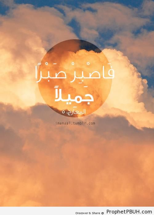 With A Beautiful Patience (Quran 70-5) - Islamic Quotes