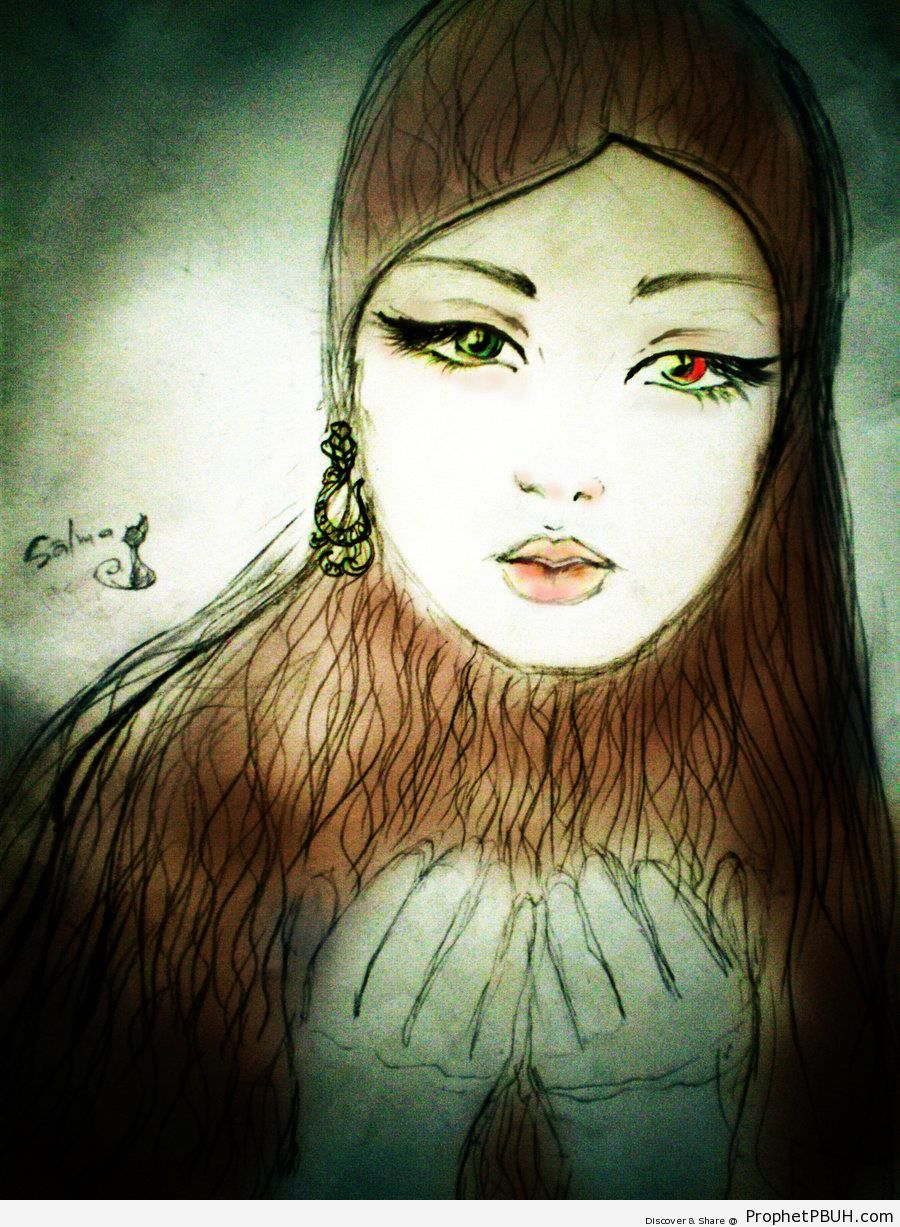 Woman With Different Colored Eyes - Drawings