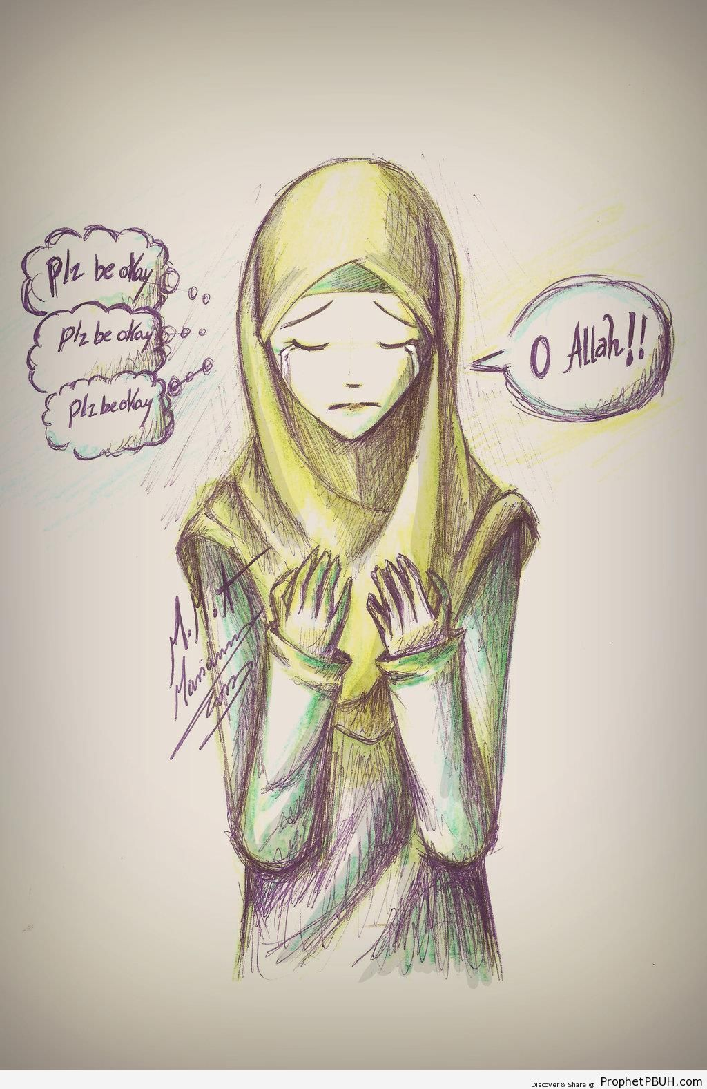 Worried Muslimah Making Dua - Drawings -Pictures
