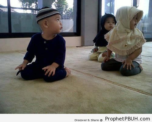 Young Imam Leads Two Worshipers in Prayer - Muslimah Photos (Girls and Women & Hijab Photos)