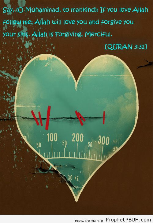 Say, (O Muhammad, to mankind)- If ye love Allah,... - Islamic Quotes, Hadiths, Duas