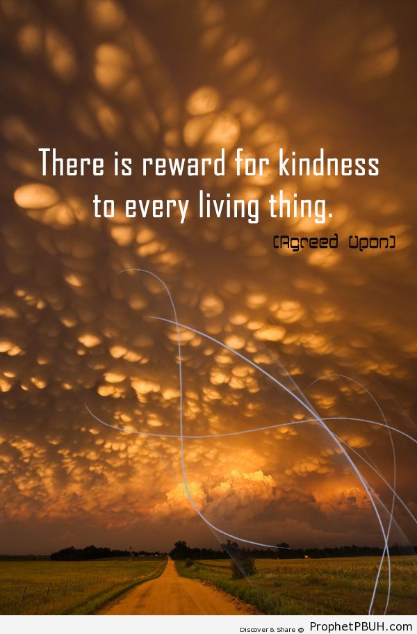 There is reward for kindness to every living... - Islamic Quotes, Hadiths, Duas-001