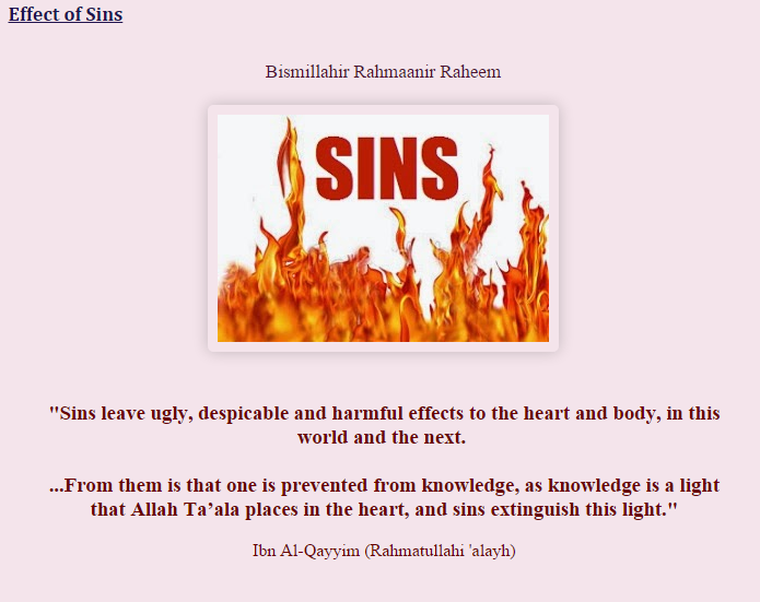 Effects of Sins...Astaghfar'Allah