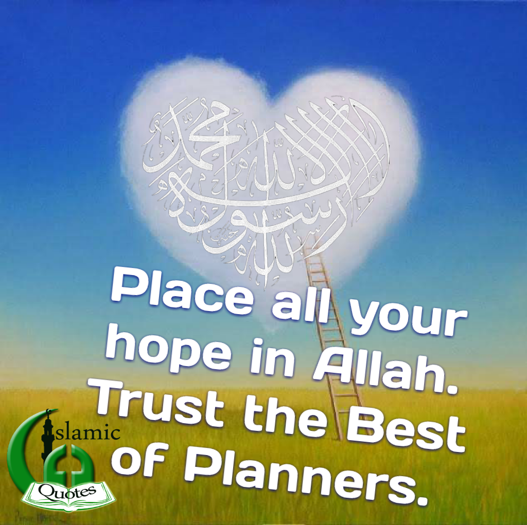 Place all your hope in Allah. Trust the Best of Planners.