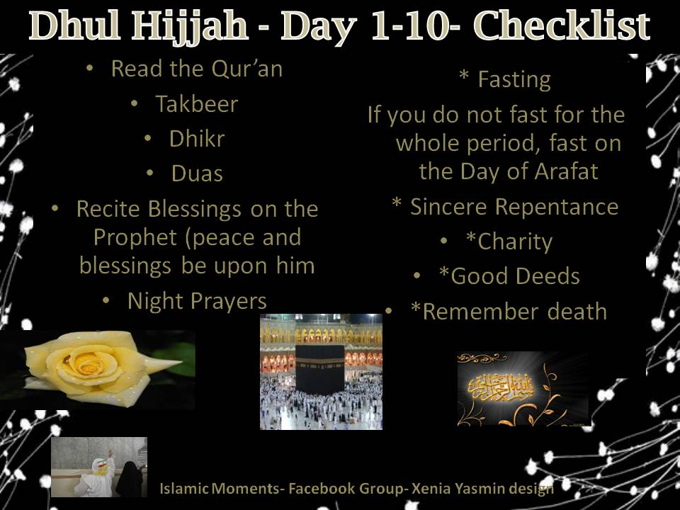 Dhul Hijjah Check List