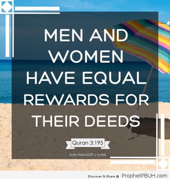 Men and Women Have Equal Rights for their Deeds