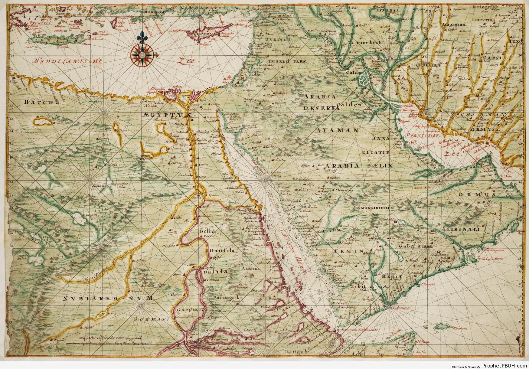 17th Century Map of Egypt and Arabia - Islamic Infographics and Diagrams